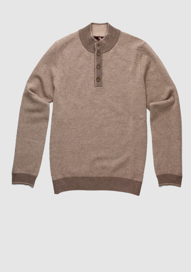 Mahogany Collection Twill Quarter Button Mock Sweater, $495, available at hickeyfreeman.com