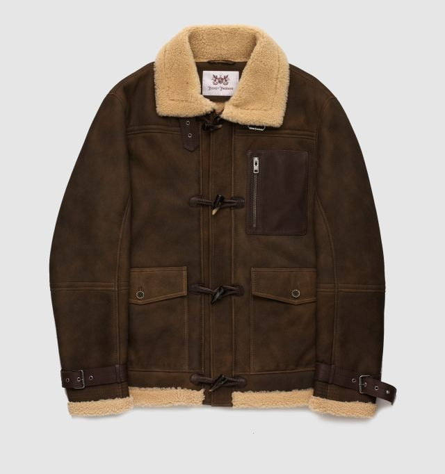 Sterling Collection Suede Shearling Duffle Coat, available for a limited time only for $1,794.99 at hickeyfreeman.com