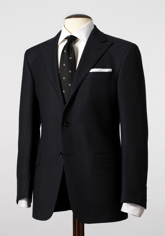 Sterling Collection Navy Flannel Birdseye Suit, $1,295, available at hickeyfreeman.com
