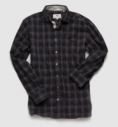 Sterling Collection Dark Grey Plaid Sport Shirt