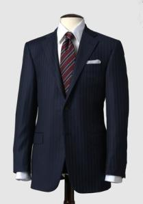 Mahogany Collection Navy Stripe Suit, $1795, available at hickeyfreeman.com